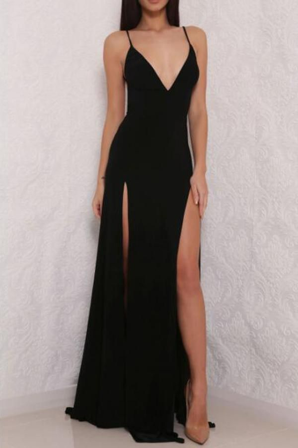 e3ab60e4917 Sexy Simple Black Spaghetti Strap V neck Open Back Prom Dress with Side  Slit, PL150