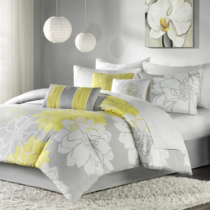 Gray and yellow bedding!Guest Room, Guest Bedrooms, Duvet Sets, Duvet Covers, Comforter Sets, Master Bedrooms, Madison Parks, Beds Sets, Comforters Sets