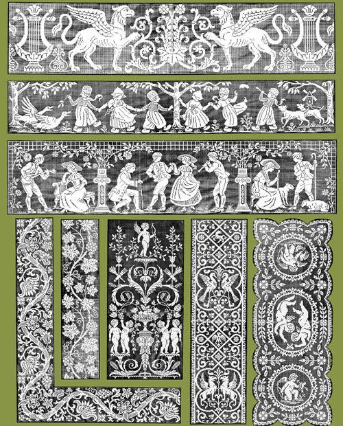"Iva Rose Vintage Reproductions - Le Filet Ancien #3 c.1917 - Vintage Lace Designs of France (Large Format 11"" x 17"" size)"