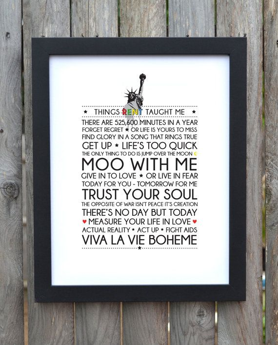 Broadway Musical typography print Rent by TheGodmotherDesigns