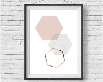Blush Print Copper Wall Art Rose Gold Print Hexagon by PrintAvenue