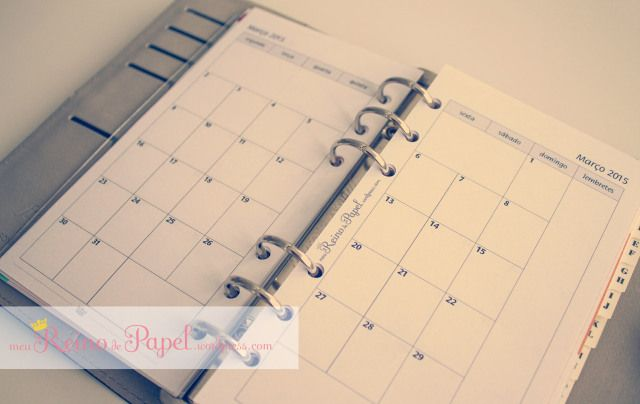 calendario mensal em duas paginas filofax imprimivel printable