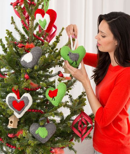 Holiday Heart Ornaments Knitting Pattern | Red Heart