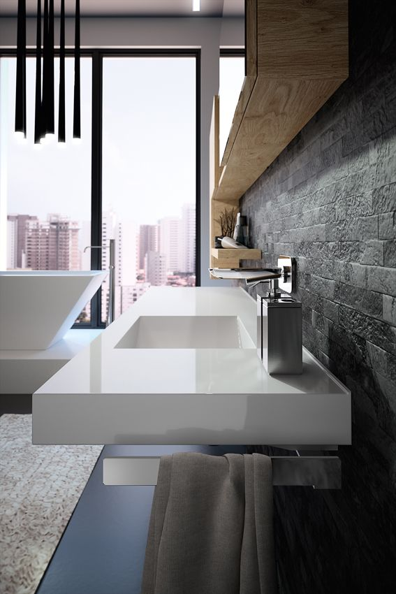 Les 70 meilleures images du tableau meubles de salle de for Baignoire faible largeur