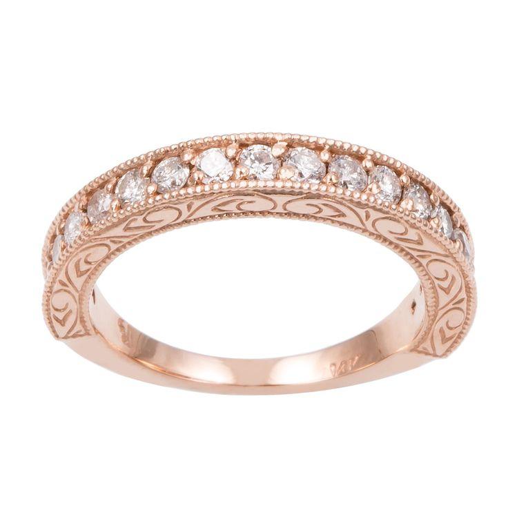 14k Rose Gold 1/2ct TDW Hand Engraved Vintage Style Diamond Band Ring