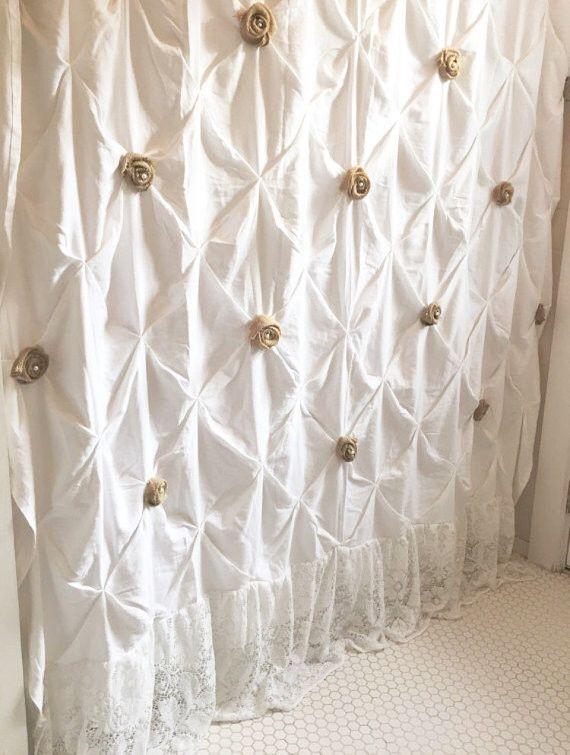 White Shower Curtain with Ruffles Custom Pin Tuck Shabby Chic
