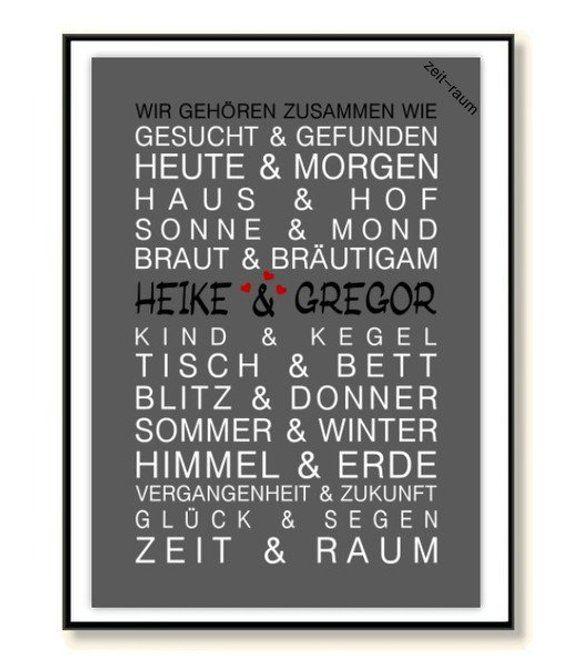 """Gift Wedding Personalized, Wedding Gift Personalized Name """"We Belong Together"""" Period Art Print, Poster, Print, Picture"""