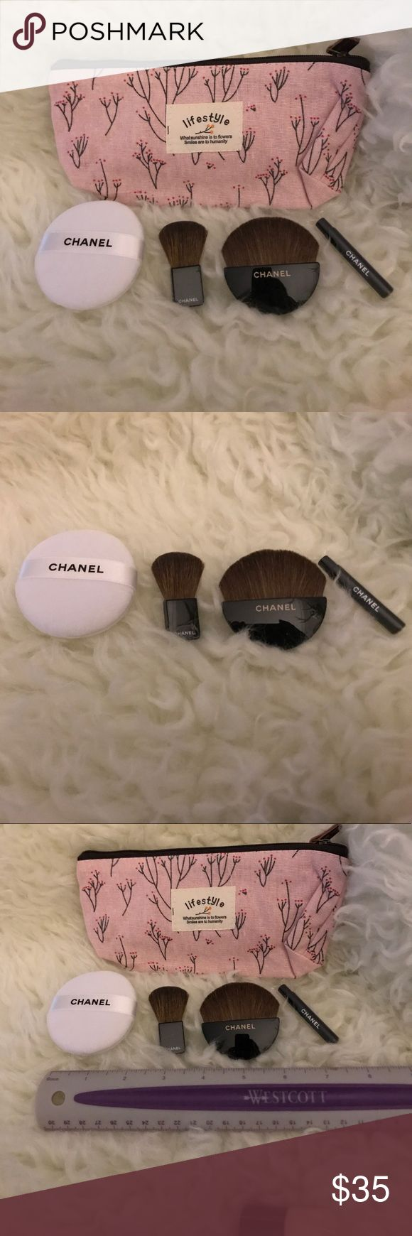 Authentic Chanel Makeup Brushes with a Makeup Bag. 3 makeup brushes and 1 poof. I have included a makeup bag ( not Chanel). NWOT. Rare VIP gift CHANEL Makeup Brushes & Tools