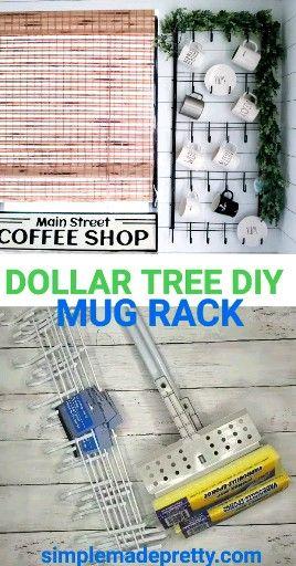 Mug Rack DIY – Dollar Tree Mug Rack – Dollar Store Mug Rack – How to make a Mug Rack