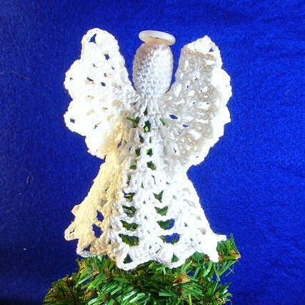 Crochet Mini Tree Top Angel, free pattern