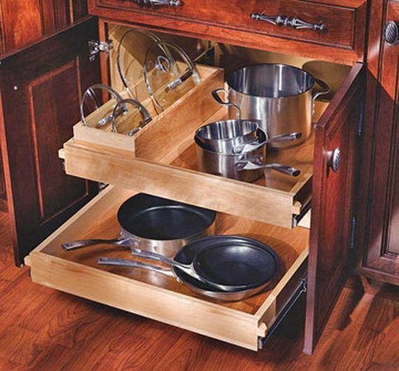 Kitchen storage I like the extra slot  for lids.