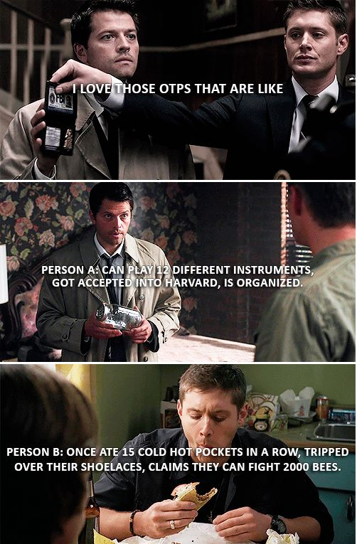 I love those OTPs that are like Person A: can play 12 different instruments, got accepted into Harvard, is organized. Person B: once at 15 cold Hot Pockets in a row, tripped over their shoelaces, claims they can fight 2000 bees. #spn #destiel