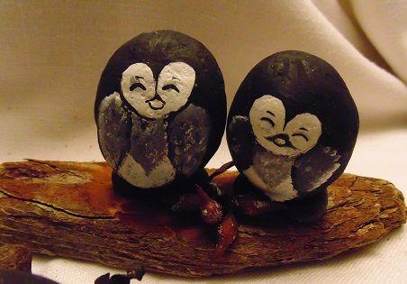 Baby penguins, hand painted rocks on drift wood/ Desk ornament.