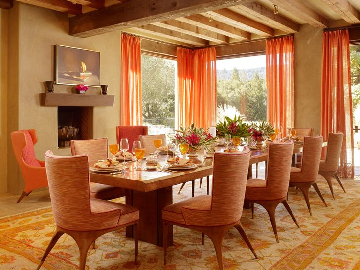 Gorgeous Orange Dining Kitchen Room Designs Decorating Ideas Table Setting With Varnished Wood And Cool Unique Chairs