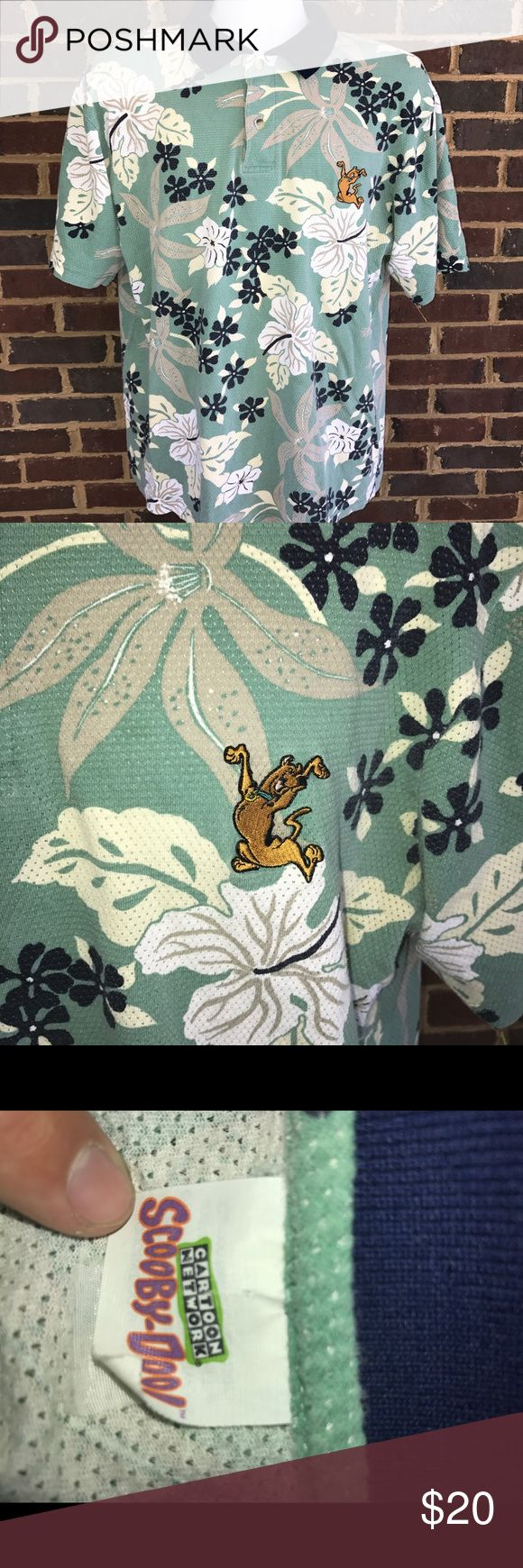 Vintage Scooby Doo Floral Hawaiian polo shirt Rare Scooby Doo Floral shirt. Excellent condition, 9/10. Can't see size on tag, fits XL. Vintage Shirts Polos
