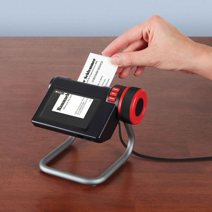 The Digital Business Card Organizer converts traditional business cards to digital format and organizes them for simple, fast retrieval. Available only from Hammacher Schlemmer, the device begins to scan when a card is placed in the auto-feed slot and finishes the process in just six seconds. The unit holds up to 5,000 business cards and you can organize them alphabetically and scroll through them by name or by the date they were saved with a turn of a dial.