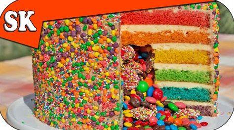 RAINBOW PINATA CAKE - Simple Home Made Cake Batter:http://steves-kitchen.com/rainbow-pinata/