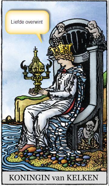 Tarotkaart koningin kelken lijfspreuk: Liefde Overwint.