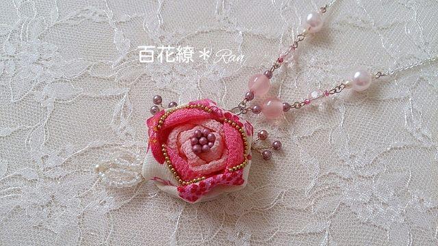 和風紅薔薇ネックレス*大正浪漫風*