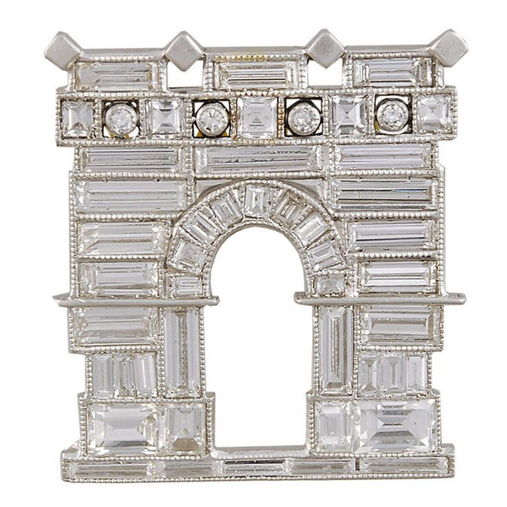 ghiso art deco baguette diamond house brooch from a unique collection of vintage brooches at. Black Bedroom Furniture Sets. Home Design Ideas