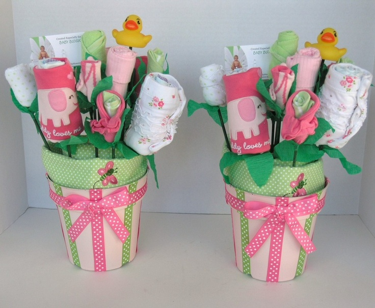 Baby Bouquets for Twin Girls: Baby Shower Decor- Unique Gift for Twins, $90.0