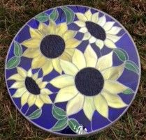 "Sunflowers 14"" Stained Glass Garden Stone"