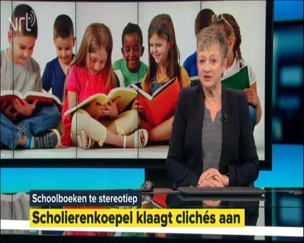 Journaal: schoolboeken zijn te stereotiep Handboeken op school zijn volgens de koepel van Vlaamse scholieren nog altijd té stereotiep. Schoolboeken zouden veel meer de realiteit, dat wil zeggen diversiteit, moeten weerspiegelen. Lora Hasenbroekx, voorzitter van de Vlaamse Scholierenkoepel, geeft uitleg bij de stereotiepe foto's in haar handboek Frans. Zo staan er steevast traditionele, heteroseksuele koppels en blanke meisjes in afgebeeld. Beelden van de studiezaal in het Atheneum van