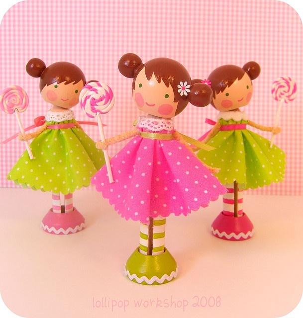 Cutesy clothespin dolls