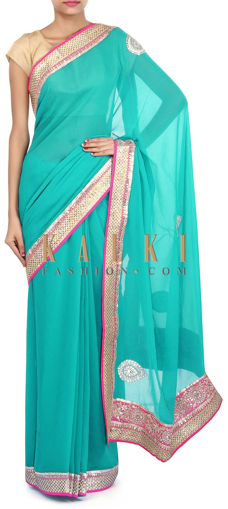 Buy Online from the link below. We ship worldwide (Free Shipping over US$100). Product SKU - 275215. Product Link - http://www.kalkifashion.com/tropical-green-saree-adorn-in-gotta-patch-work-embroidery-only-on-kalki.html