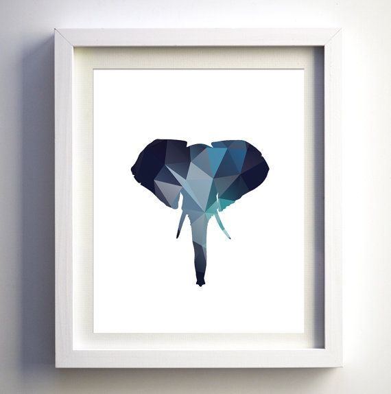 Elephant Head Art Print Polygonal Animal by FancyPrintsforHome
