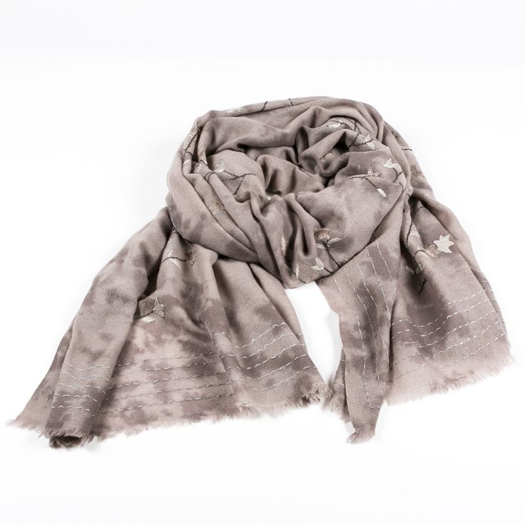 ethicaltrend cream shawl in pure cashmere Floral