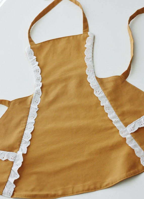Golden Fabric Apron for Little Girls by milchundhonig on Etsy, $20.00