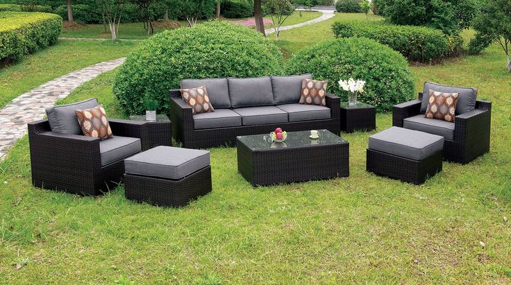 Enjoy the outside breeze and the smell of fresh cut grass while you and your guests sit in style! Comprised of an aluminum and wicker frame with water resistant cushions  this set is both durable and comfortable. Serve your guests some iced lemonade or tea on the tempered glass coffee table that sits steadily on the ground surface while enjoying the surrounding scenery. Available in 2 cushion color options.