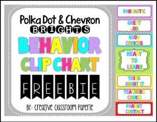 """FREE LESSON - """"FREEBIE Polka Dot & Chevron Behavior Clip Chart {Behavior Management}"""" - Go to The Best of Teacher Entrepreneurs for this and hundreds of free lessons. Pre-Kindergarten - 5th Grade    http://www.thebestofteacherentrepreneurs.net/2017/02/free-misc-lesson-freebie-polka-dot.html"""