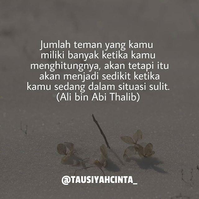 Jumlah teman yang kamu miliki banyak ketika kamu menghitungnya akan tetapi itu akan menjadi sedikit ketika kamu sedang dalam situasi sulit. Ali bin Abi Thalib Follow @hijrahcinta_ http://ift.tt/2f12zSN