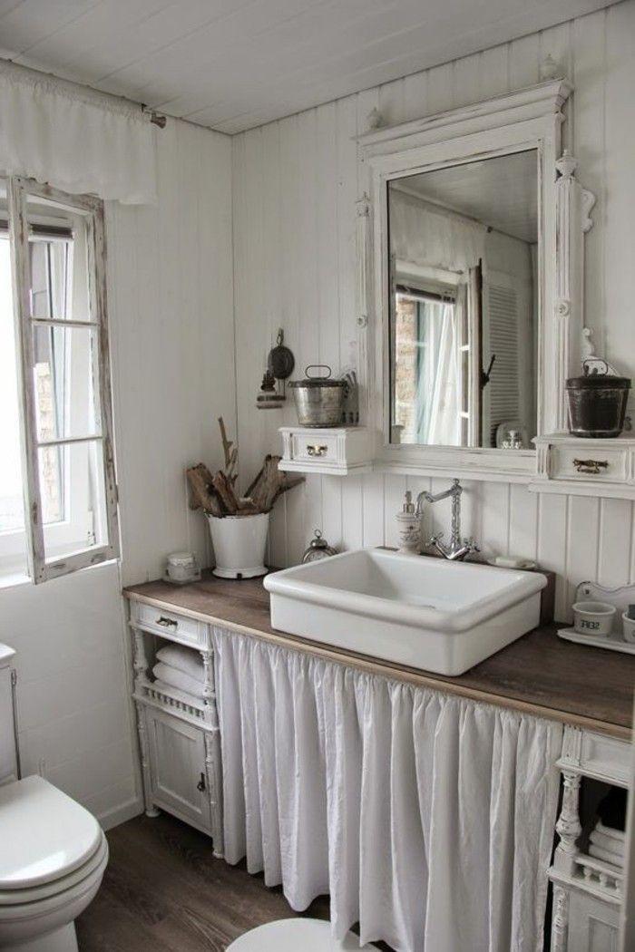 vasque salle de bain à poser, salle de bain shabby chic