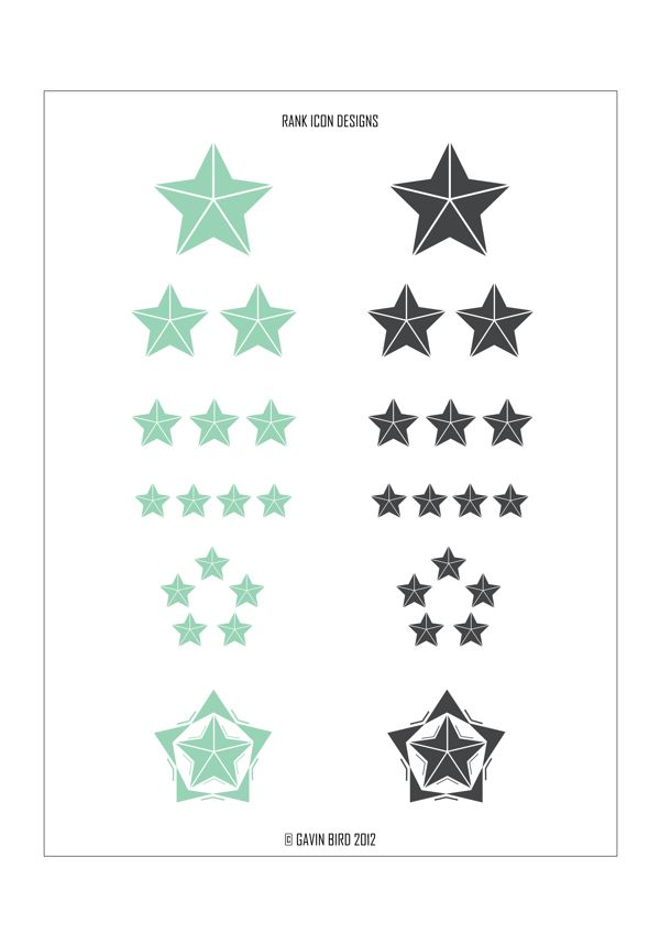 Rank Icon Designs on Behance Various rank icon designs I created in my own time for any modern to futuristic FPS. Just done for fun in Illustrator, wanting to take the modern day military ranking system and give my own little twist to it, using shapes and angles that are not usually linked with them. - Gavin Bird '13