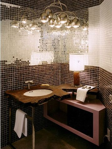 Mirror tiled bathroom - this is amazing with a low hanging feature light