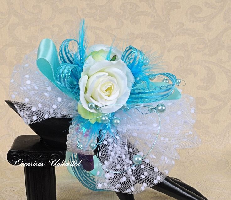 Prom Corsage - corsage, Tiffany blue -  bling corsage- dance corsage- wrist corsage. wristlet. $21.00, via Etsy.
