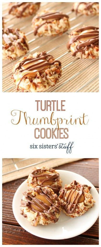 Thumbprint Cookies from @sixsistersstuff   Our grandma makes the best thumbprint cookies! We shared her recipe a few years ago, and still can't get enough of it! Every year around the holidays we love making her thumbprint cookies and sharing them with our neighbors and friends. This year we decided to put a little twist on her cookies, and these delicious Turtle Cookies were the result! These are the perfect cookies to share with your family and friends this year, or to keep all to yourself