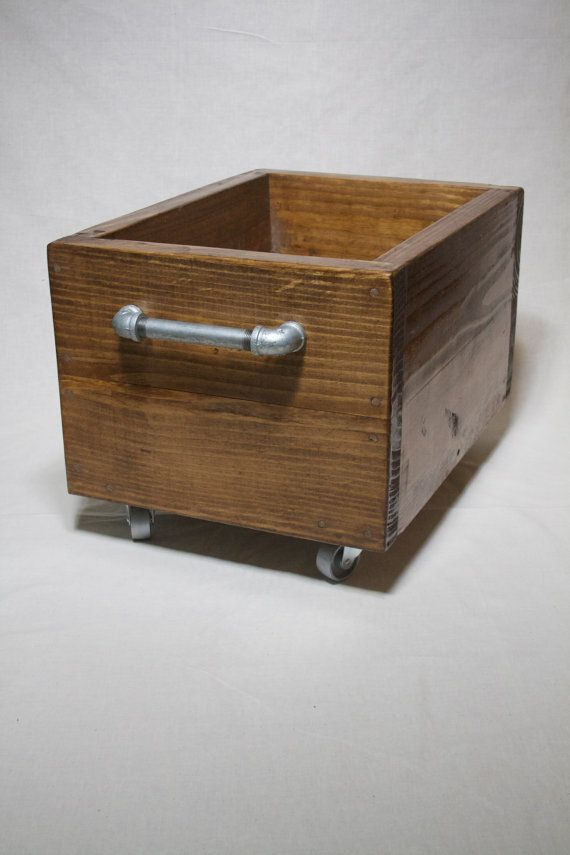 Industrial Storage Box on Wheels Wood Storage by IndustrialEnvy