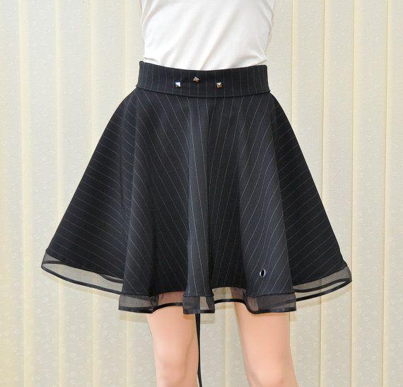 Black circle skirt Black gothic skirt Skater skirt by Blackpassion