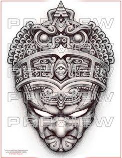 amazing prehispanic warrior tattoo design
