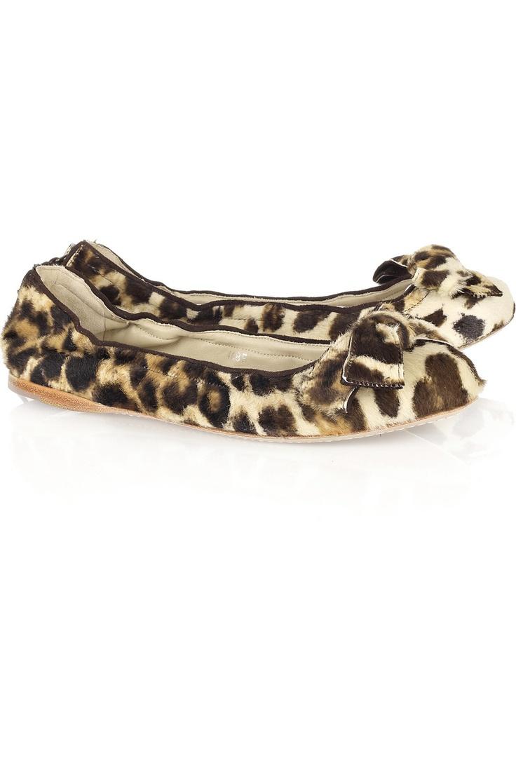 Leopard-print calf hair ballerina flats by Miu Miu