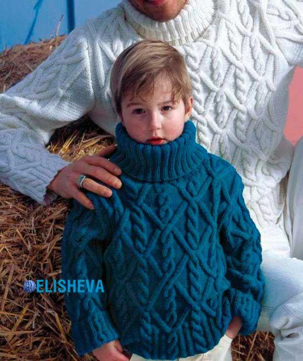 Объемный детский свитер с аранами для мальчика. Бесплатное описание и схема