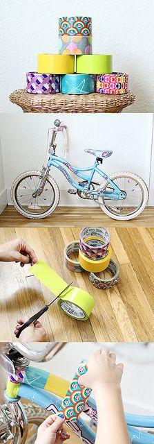 Duct Tape Bike Makeover by Skunkboy Creatures., via Flickr