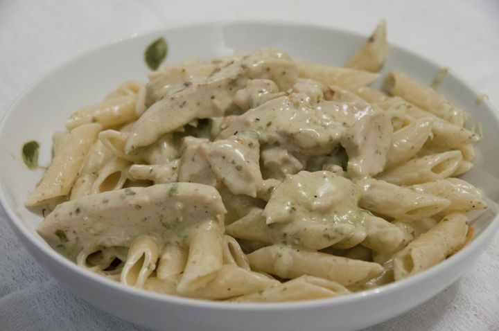 So good! Creamy Pesto Chicken Pasta...less butter, add red peppers and a bit of flour
