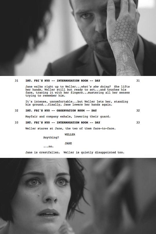 janedoetattoos:  Excerpts from the Blindspot Pilot script- 3 of 9