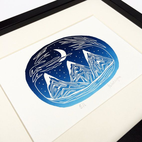 Mountain and moon gradient lino print. Lino by CatchloveCreateUK