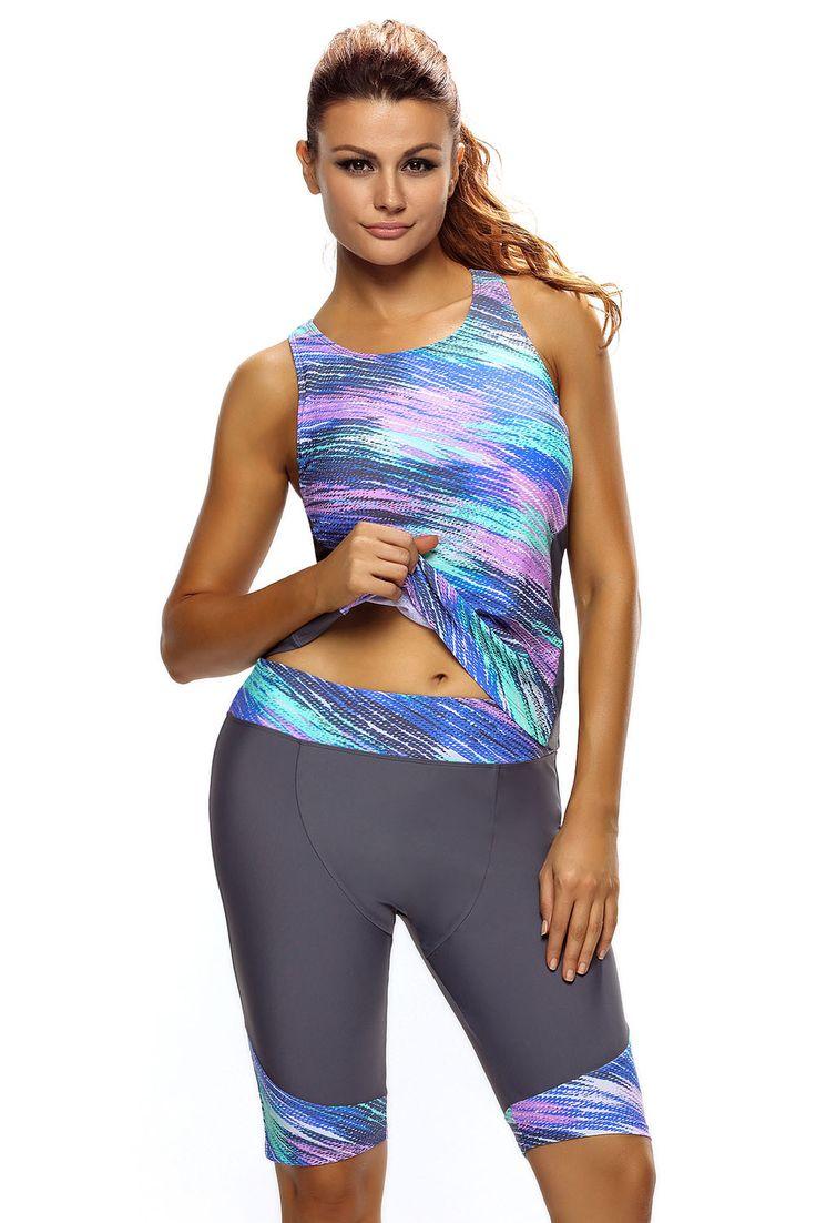 Maillot de Bain Sport Femme 2 Pieces Sans Manches Haut et Recadree Pantalons Pas Cher www.modebuy.com @Modebuy #Modebuy #MultiCouleur #Gris #sexy #love